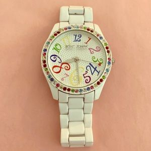 Betsey Johnson white watch with rainbow face